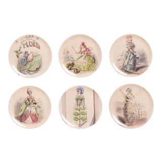 Las Flores Coaster/Appetizer Set - Set of 6 For Sale