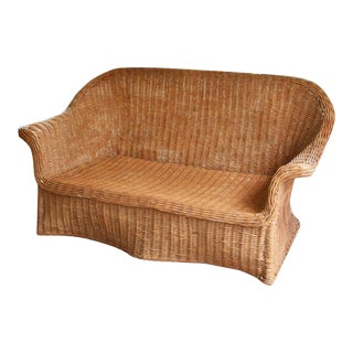 Sculptural Michael Taylor Style Draped Wicker Bamboo Ghost Sofa For Sale