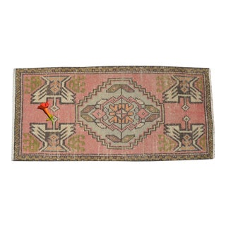 Low Pile Turkish Small Rug - Entry Mat Hand Knotted Distressed Mat Bath Rug - 18'' X 38'' For Sale