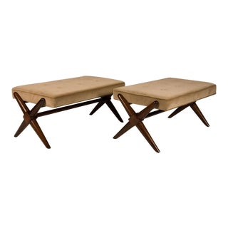 T.H. Robsjohn-Gibbings Trestle Base Benches - a Pair For Sale