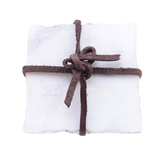 Square Shaped White Marble Coasters - Set of 4