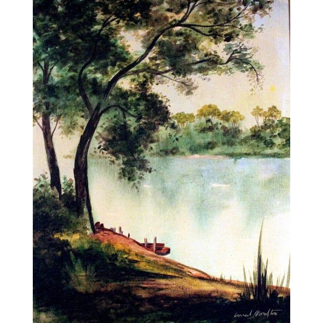 "Conrad Moulton ""Tree and Lake"" Painting Giclee Print - Image 1 of 2"