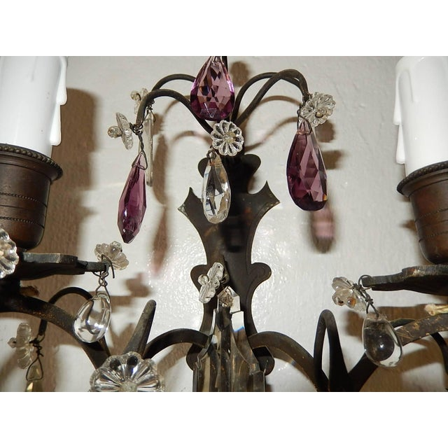 French Burnished Brass Amethyst and Clear Crystal Prisms Sconces For Sale - Image 6 of 11