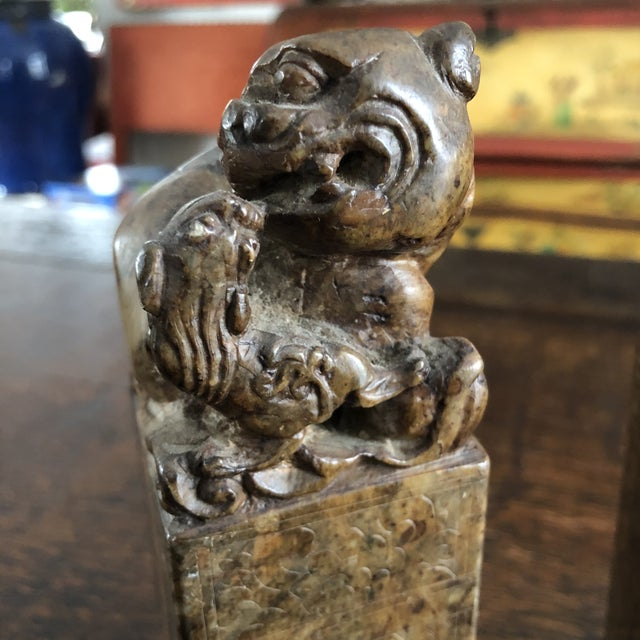 19th Century Hand Carved Brown Shoushan Soapstone Chinese Chop Seals - a Pair For Sale - Image 4 of 13