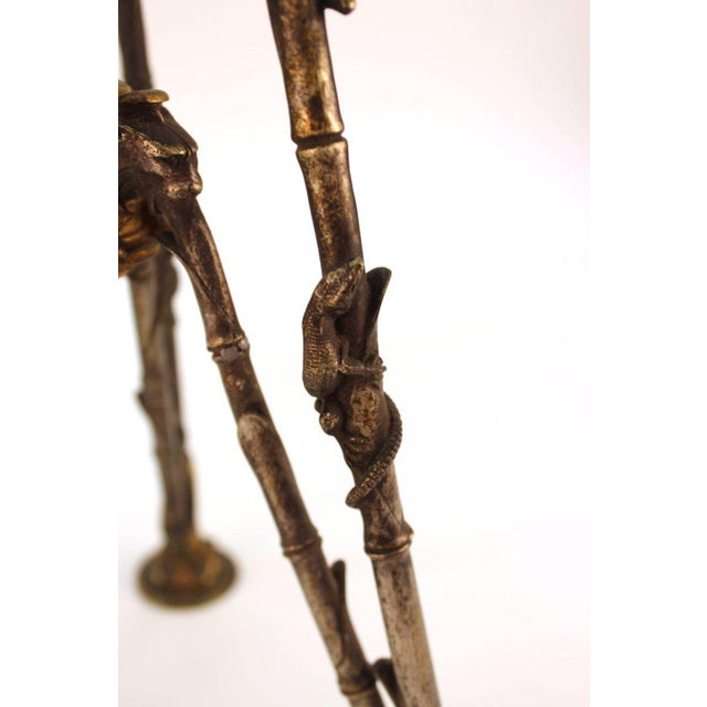 Antique Victorian French Pastry Holders on Tripod Bronze Bases and Val St. Lambert Glass - a Pair For Sale - Image 10 of 11