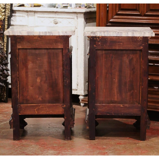 Pair of 19th Century French Carved Oak Nightstands With Marble Top For Sale - Image 12 of 13