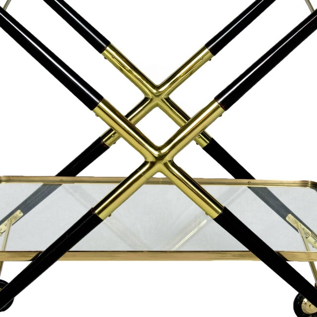 1950s Bar Cart with Tray by Cesare Lacca, Beech, Brass and Glass, Italy For Sale - Image 9 of 11