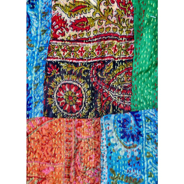 Large Vintage Indian Textile Art With Custom Frame For Sale - Image 9 of 9