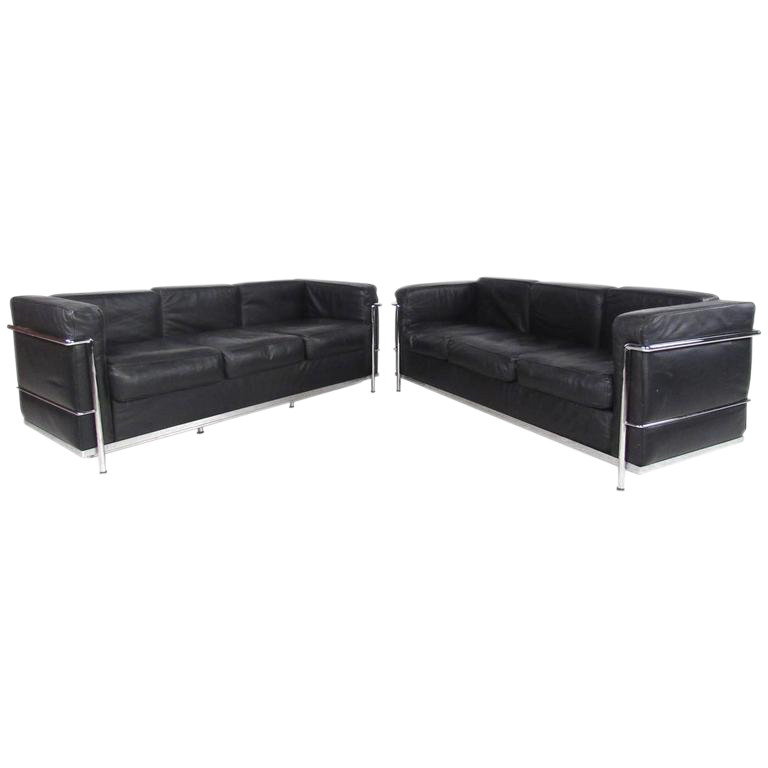 Le Corbusier Style Mid Century Modern Three Seat Leather Sofas A