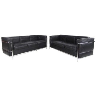 Le Corbusier Style Mid-Century Modern Three-Seat Leather Sofas - A Pair For Sale