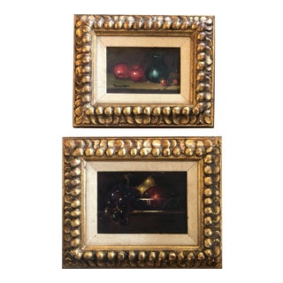 Gallery Wall Collection- 2 Original Frank Leon Small Still Life Paintings With Fruit Original Carved Wood Frames 1950's For Sale