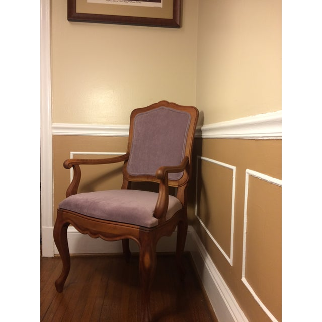 Lovely vintage French style accent arm chair. From a non smoking home, and in great shape. Rough measurements of the chair...