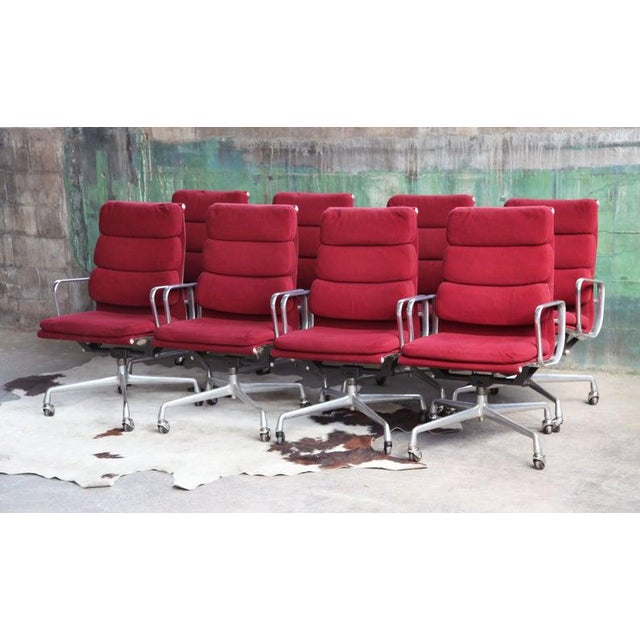 1970s Eames Herman Miller Aluminum Soft Pad Reclining Executive Lounge Chairs - Set of 8 For Sale - Image 11 of 11