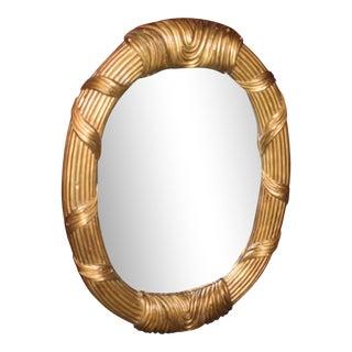Vintage Oval Gilt Mahogany Wall Mirror For Sale