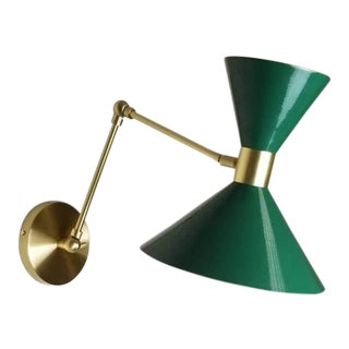 Large Scale Monarch Articulated Wall Mount Lamp in Brass + Emerald Green For Sale