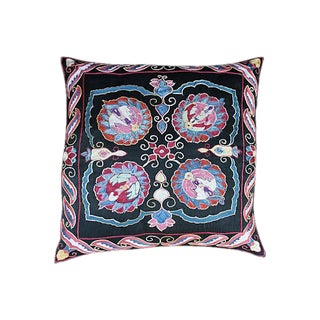 Silk Embroidered Uzbek Pillow For Sale