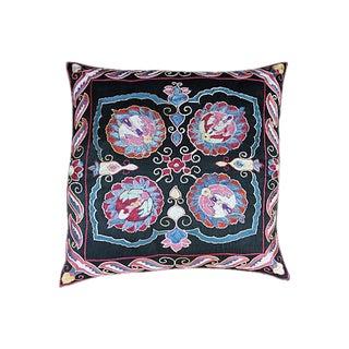 Silk Embroidered Uzbek Pillow Sham For Sale