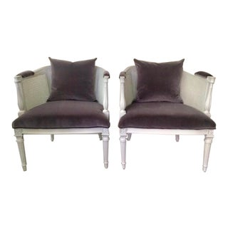 Louis XVI Style French Restored Gray Accent Chairs With Cushions - a Pair