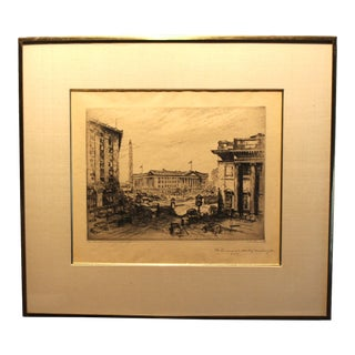 """1920s Vintage Anton Schutz """"The Financial Heart of Washington"""" Pencil Signed Etching Print For Sale"""