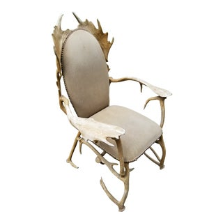 Vintage Faux Antler Authur Court Chair Rustic For Sale