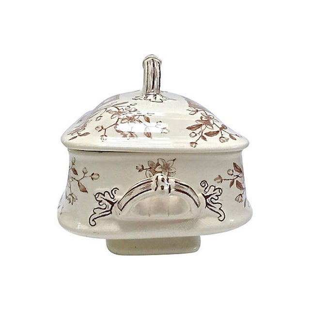 Antique Floral & Scenic Transferware Tureen For Sale - Image 10 of 12