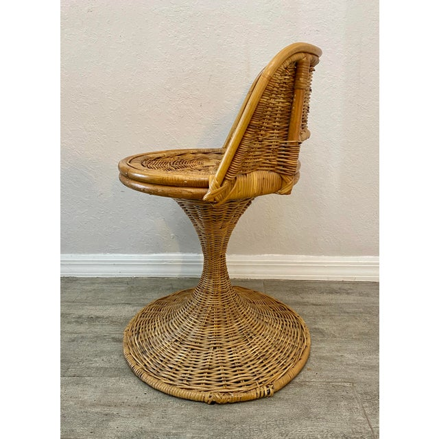 1960s Mid Century Modern Danny Ho Fong Woven Rattan Swivel Chairs - Set of 3 For Sale - Image 5 of 7