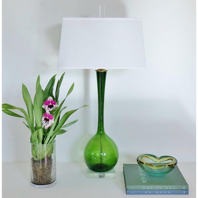 Vintage Deep Emerald Glass Lamp - Image 5 of 5