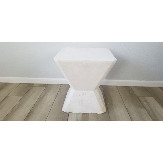 White Vintage Postmodern Geometric Plaster Side Table For Sale - Image 8 of 13