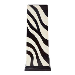 "42"" Postmodern Tessellated Stone Zebra Pattern Pedestal, 1990s For Sale"