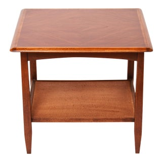 Bassett Furniture Mid-Century Modern Wood End Table with Rattan-Lined Shelf For Sale