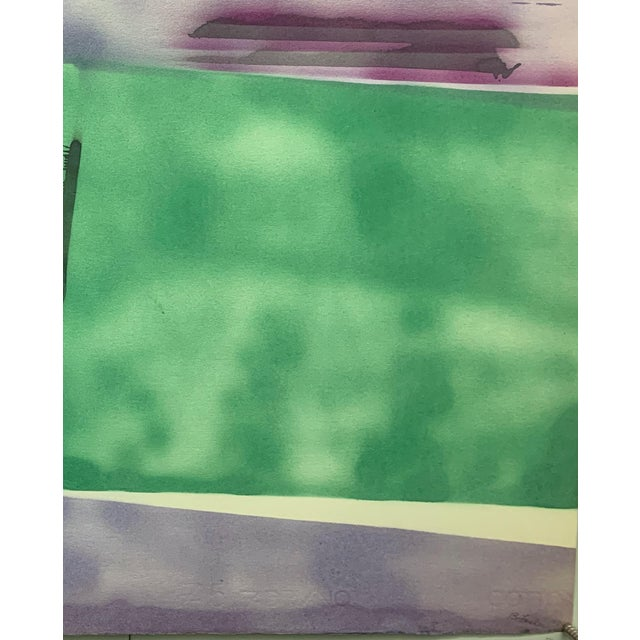 """Abstract 1978 """"Purple Sky Abstract Landscape"""" Nyc Female Artist Beatrice Fisher For Sale - Image 3 of 5"""