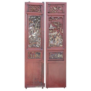 Red & Gilt Chinese Panels For Sale