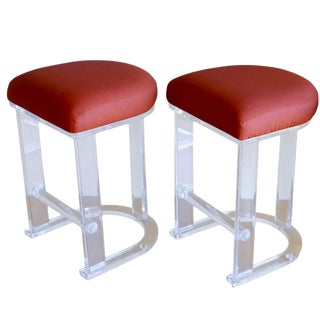 Mid Century Vintage Lucite Hill Manufacturing Counter Bar Stools-Set of 2 For Sale