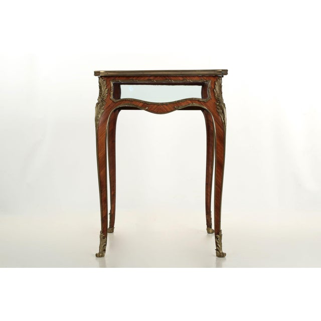 19th Century French Antique Bronze Side Table w/ Vitrine Display Case For Sale - Image 4 of 10