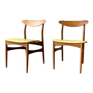 Mid Century Modern Solid Oak Dining Chairs - a Pair For Sale