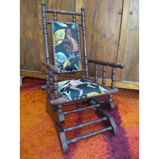 Metal 1920s Americana Children's Silk Velvet Chenille Wooden Rocker For Sale - Image 7 of 8