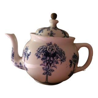 Antique Buffalo Pottery China Chrysanthemum Blue Teapot For Sale