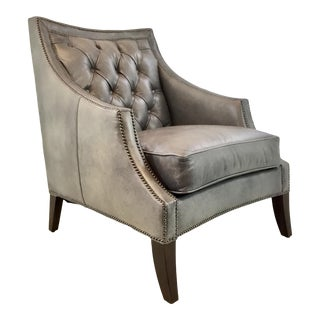 Henredon Transitional Gray Tufted Leather Arabella Club Chair For Sale