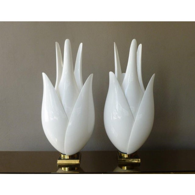 Huge Classic 1970's 34 Inch High 6 Leaf Rougier Exaggerated Tulip Lamps sold as found in good condition without damage....