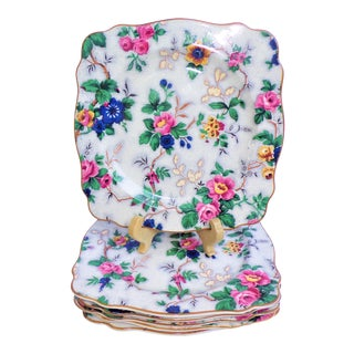 1920's Crown Ducal Chintz Square Plates - Set of 6 For Sale