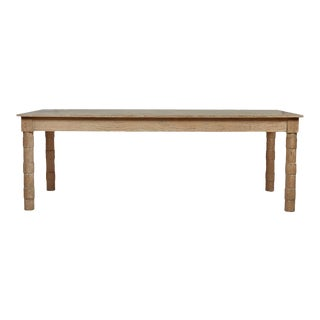 Transitional Turned Leg Dining Table in Cerused Oak by Martin and Brockett For Sale