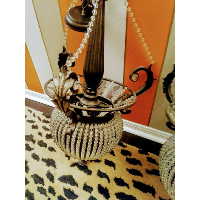 2000 - 2009 A Pair Massive Beaded French Style Crystal Hanging Chandeliers Cristol De Lisbon For Sale - Image 5 of 8