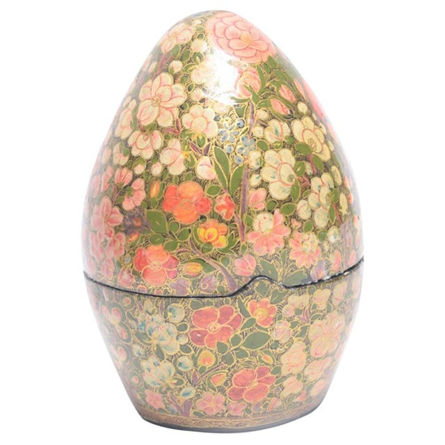 Kashmiri Standing Egg Shaped Box - Image 1 of 5