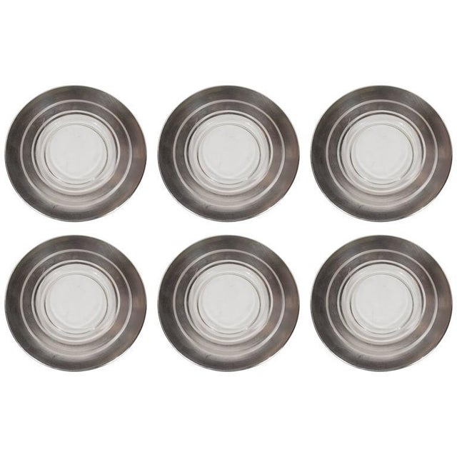 1930s Six Art Deco Sterling Silver Overlaid Hors D'Oeuvres Plates by Dorothy Thorpe For Sale - Image 5 of 5