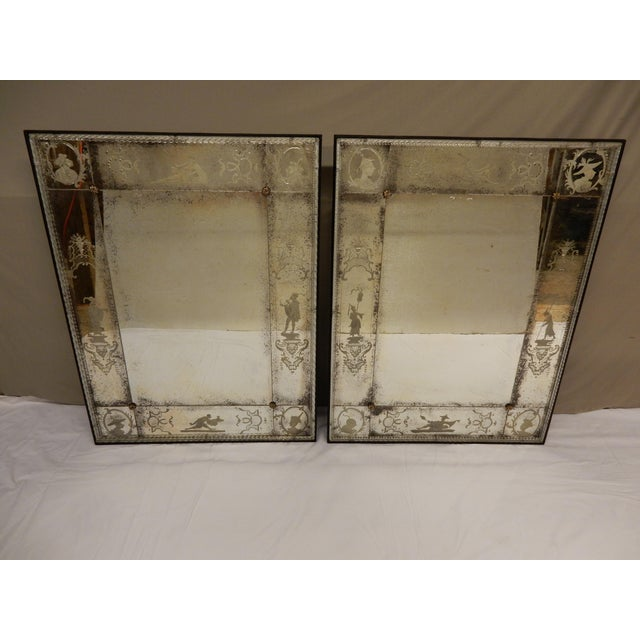 Antique Venetian Glass Mirrors - a Pair For Sale - Image 13 of 13