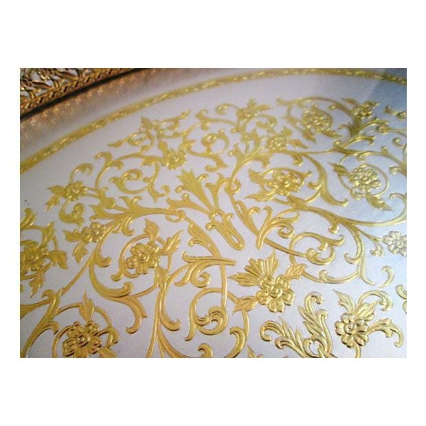 Hollywood Regency Midcentury Filigree Gold & Silver Foil Vanity Tray For Sale - Image 3 of 7