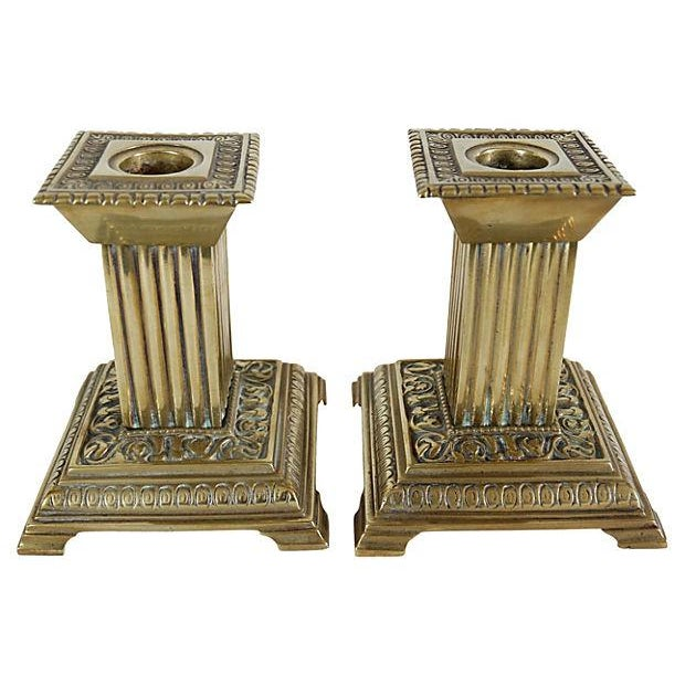 Antique Column Brass Candleholders - a Pair For Sale - Image 4 of 4