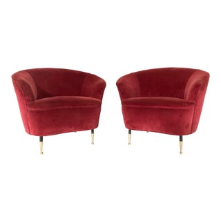 Pair of 1950s Italian Lounge Chairs For Sale