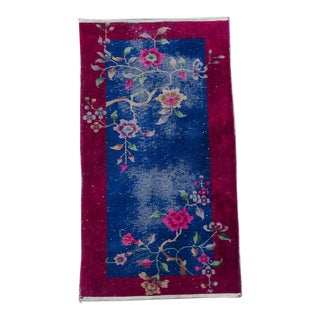 "1920s Nichols Chinese Art Deco Floral Rug, 30"" x 57"" For Sale"