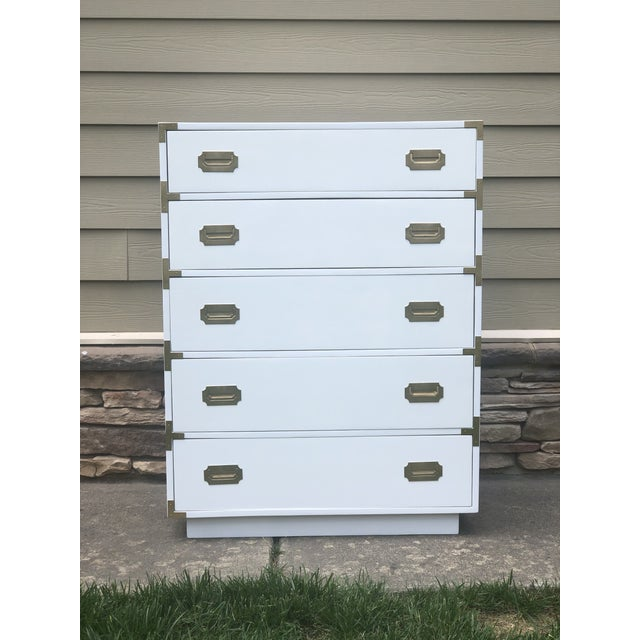 Dixie Furniture Co. 1960s Campaign Dixie Tall Dresser For Sale - Image 4 of 4